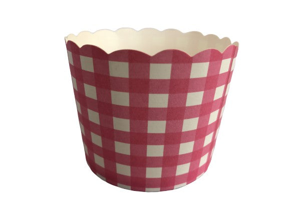 50 Large Pink Gingham Bake-In-Cups