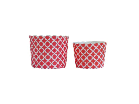 Case of Red Quadrafoil Bake-In-Cups- 1200 Large/1440 Small