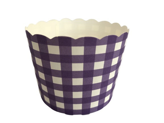 Case of 1200 Large Plum Purple Gingham Bake-In-Cups