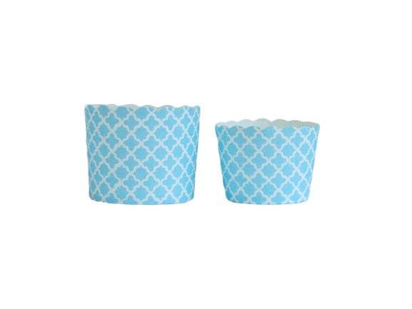 Turquoise Quadrafoil Bake-In-Cups-   50 Large/60 Small Cups