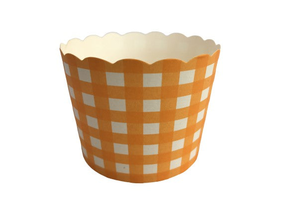 50 Large Orange Gingham Bake-In-Cups