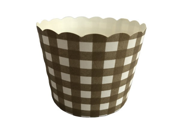 50 Large Gold Gingham Bake-In-Cups
