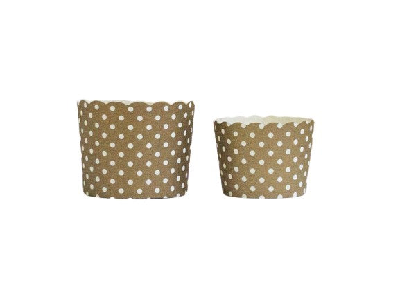 Gold Polka Dots Bake-In-Cups-   50 Large/60 Small Cups