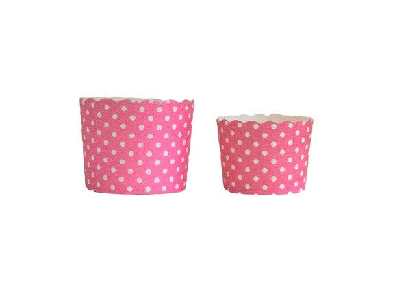 Case of Pink Polka Dots Bake-In-Cups-  1200 Large/1440 Small