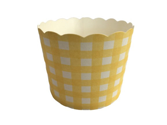 50 Large Lemon Yellow Gingham Bake-In-Cups