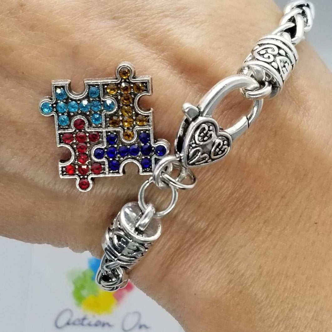 ACTION ON AUTISM RHINESTONES PUZZLE BRACELET