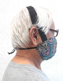 "Adult and Kids Reversible Cotton Face Mask with 1"" Upper and 1/4""Lower Adjustable Head Bands"