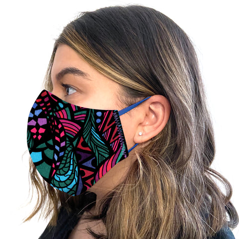 Adult and Kids Reversible One Size Face Mask in Printed Cotton