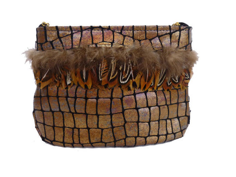 Bronze croc Clutch Isolde