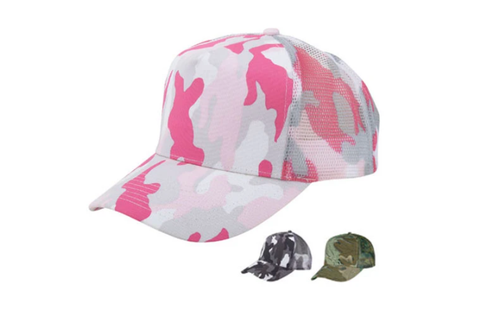 Camouflage Cotton Trucker & Baseball Hat/Cap W/ Mesh Back for Outdoors & Travel