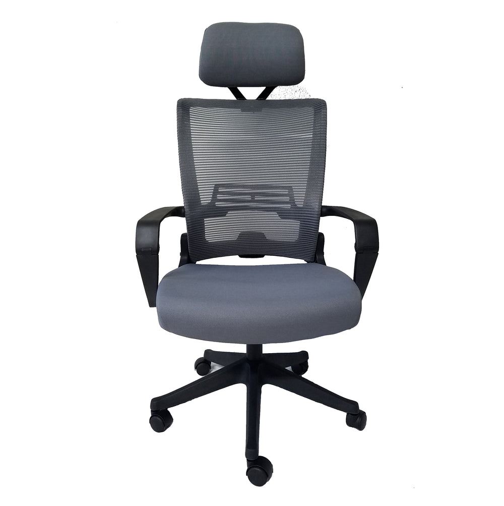 ImpecGear Ergo HQ Mesh Back/Fabric Seats W/Black Frame Easy Folding Fold Out Chairs (Kairo Grey With Headrest)