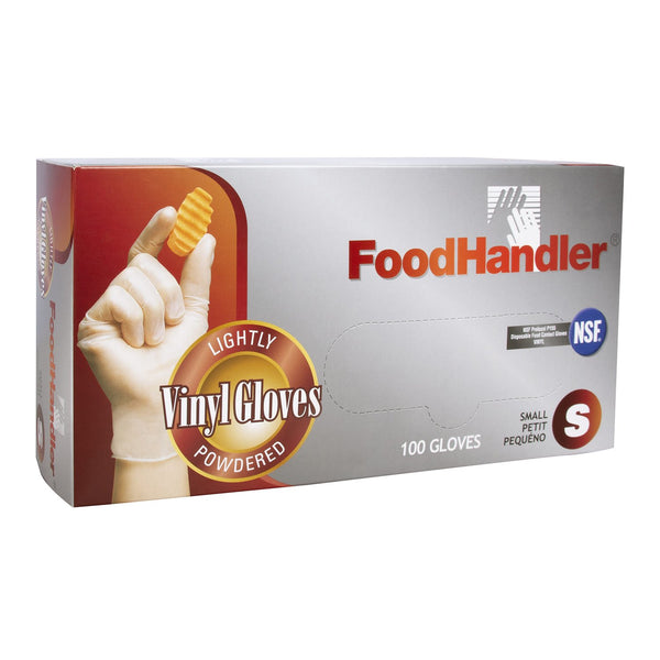 FoodHandler Vinyl Gloves - Lightly Powdered - 100 Gloves - Size Small