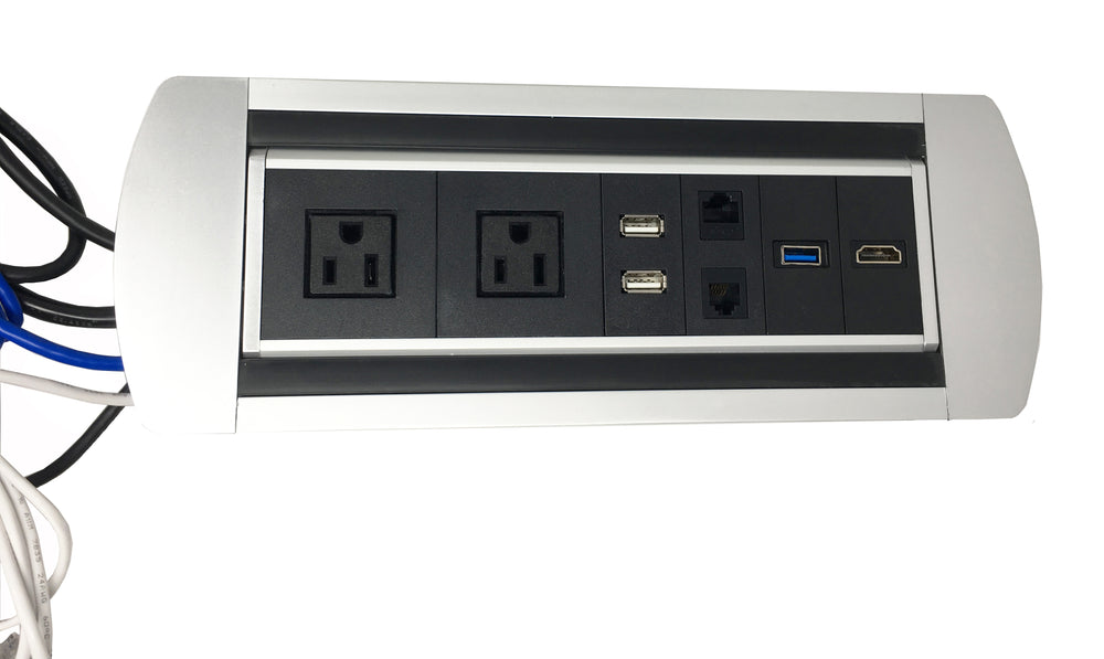 Power Plug In-Desk Power Center Table Top Grommet Furniture Power Data Center Conference Table Connectivity Box HDMI USB Data (Black/Silver)