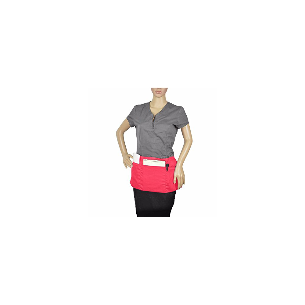 Waist Apron w/ 3 Pockets Poly Cotton Restaurant Home Bib Spun, comes in 1, 3, 6, 12, 50, 100-Pack, Black, Green, Navy, White, Royal, Red (1, Black)