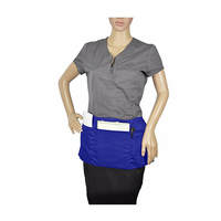 Waist Apron with 3 Pockets Poly Cotton Commercial Restaurant Home Bib Spun, 2-Pack, Royal