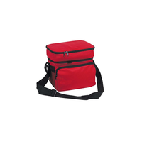 "10"" Deluxe Lunch Box Bag, Baby Food Storage Cooler Bag, 8-Can, Insulated w/ Carry Handle Shoulder Strap (Red)"
