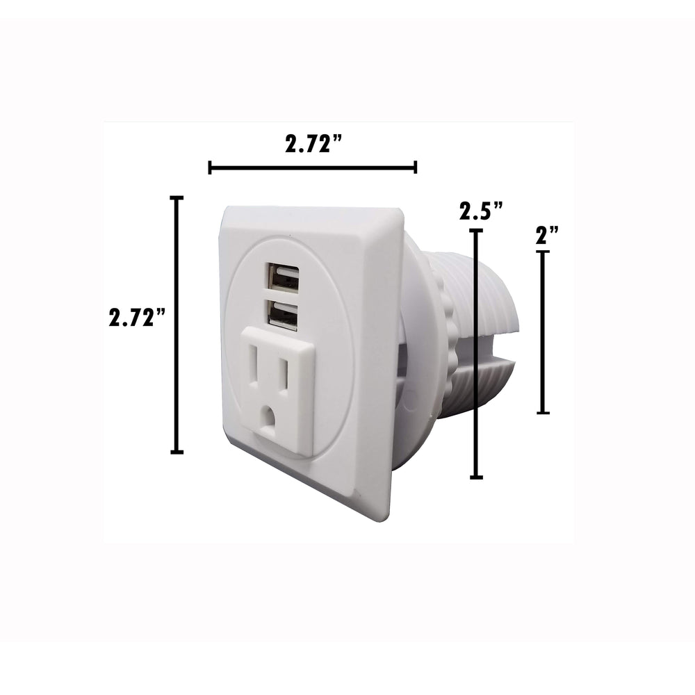 "Desktop Power Grommet Outlet Data Center, 2""- 2.5"" Hole No Drilling Required, 1 Outlet W/ 2 USB Charging Ports ETL Listed"