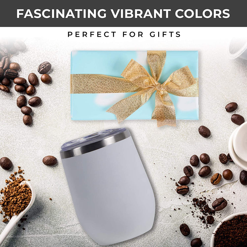 12 oz Stainless Steel Tumbler with Lid & Gift Box | Wine Tumbler Double Wall Vacuum Insulated Travel Tumbler Cup for Coffee, Wine, Cocktails, Ice Cream, Powder Coated Tumbler