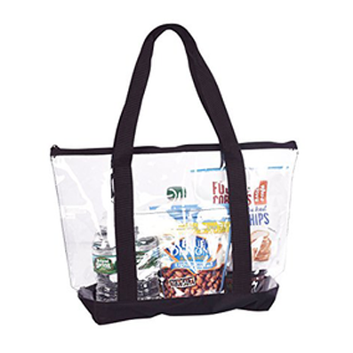 Clear Stadium Security Travel & Gym Zippered Tote Bag By Bags For Less – Sturdy PVC Construction, Black Trim, Full Zipper Top Gusset – Clear Front Pocket – Color Fabric Bottom & Long Handles