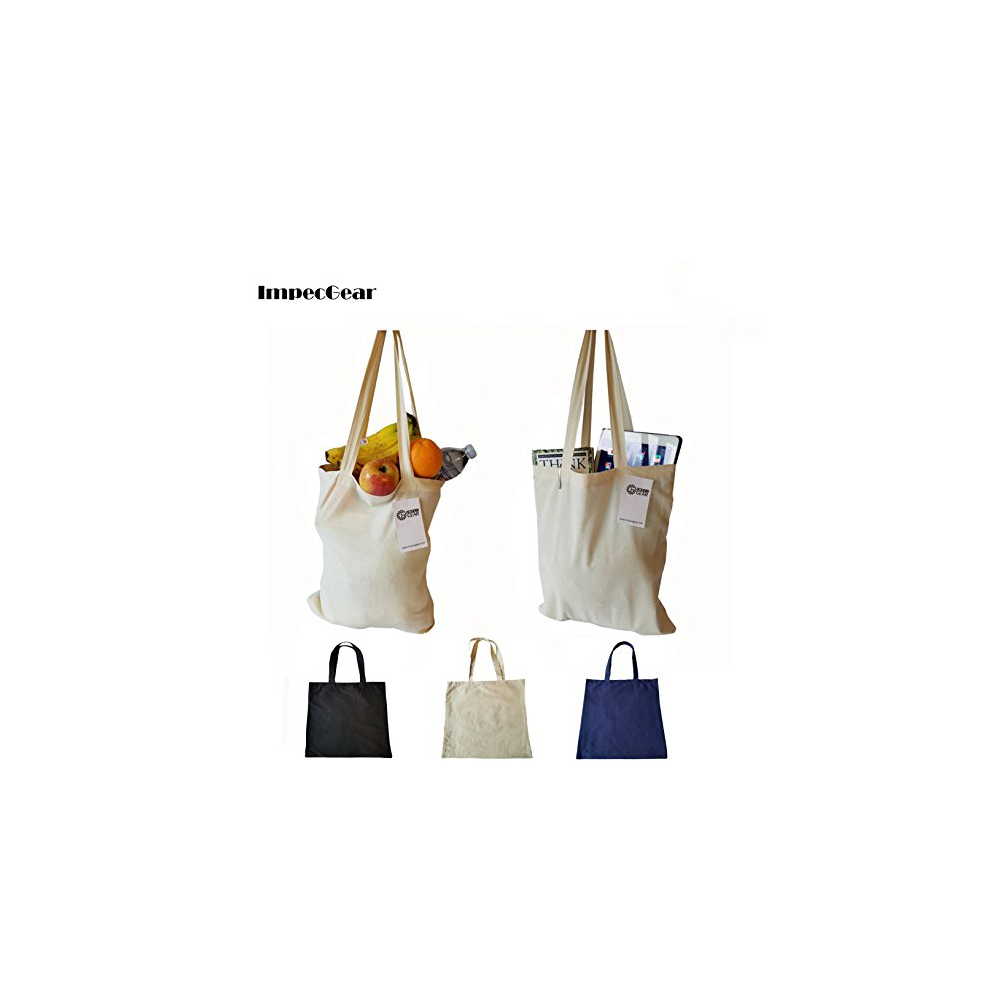 Set of 3 Wholesale 100% Cotton Tote Grocery Bag Recycled Reusable Shopping Tote Bag (SET OF 3 - NATURAL)
