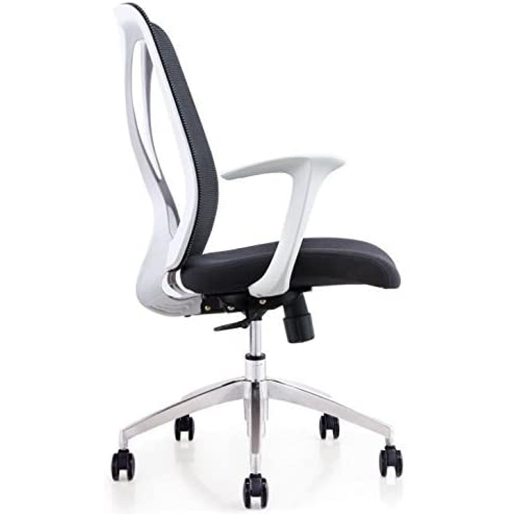 Ergo HQ - Syn-X Office Computer Task Chair Mesh Back/Padded Seat with White Frame (Black Seat) Or (Grey Seat)