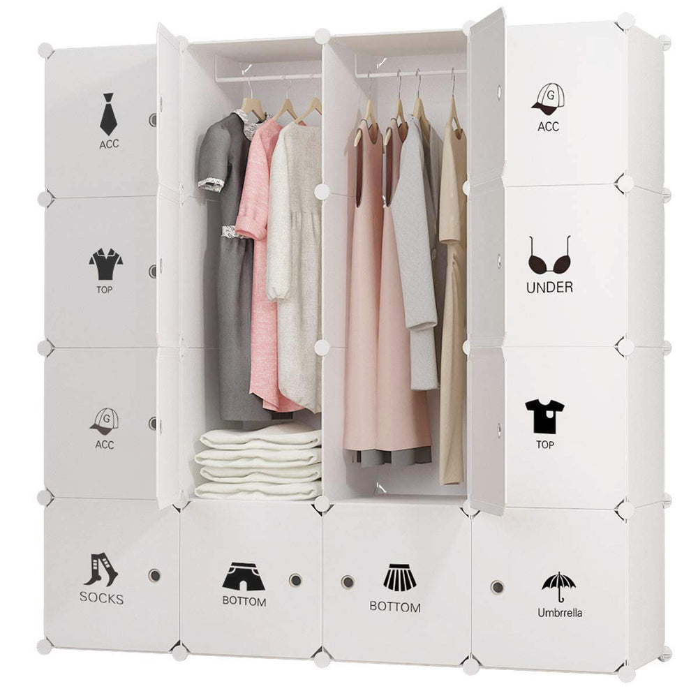 KOUSI  Portable Closet Wardrobe Closets Clothes Wardrobe Bedroom Armoire Storage Organizer with Doors, Capacious & Sturdy