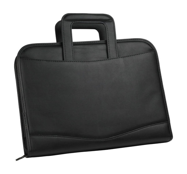 ImpecGear Zippered Executive Ring Binder Portfolio Padfolio, W/ Smart Handle, Build-In Calculator (Black)