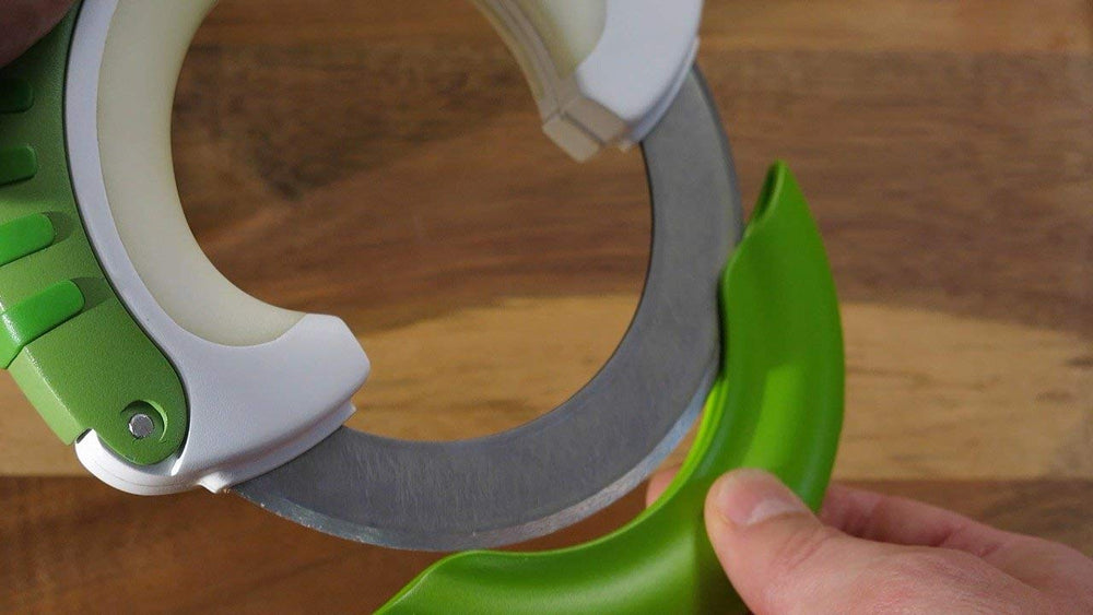 Rock Chop & Rolling Professional Chef Knife Green 360 Rotating Ergonomic Blade Gliding Bearing Control