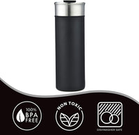 ImpecGear Tumbler for Wine, Coffee, Tea & Drinks 18oz, 100% BPA Free 18/8 Stainless-Steel Tumbler, Double Wall Insulation Hot & Cold Travel Mug with Leak-Proof Lid & Mouth Tip (SUNM4023-Black)