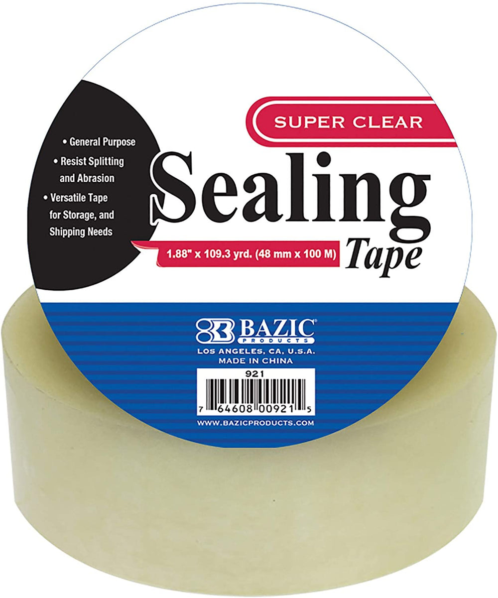 "BAZIC 1.88"" X 109.3 Yards Clear Packing Tape, Warehouse Office Home Use, Shipping Packaging Moving Mailing Sealing Tapes, 1 Unit"