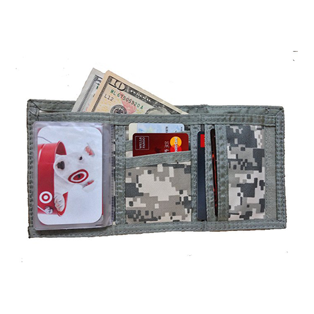 Men/Women Casual Tri-fold ACU Army/Navy Wallet W/ Velcro Digital Camouflage Commando Wallet