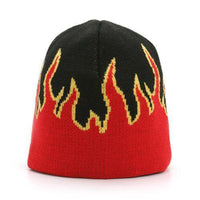"(Pack of 2)  8"" Unisex-New-Flame-Short-Fire-Beanie-Winter-Ski-Hat-Skull-CapSki-hat-Beanie"