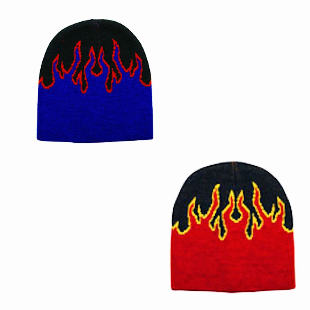 "8"" Unisex New Flame Short Fire Beanie Winter Ski Hat Skull Cap Ski Hat Beanie"