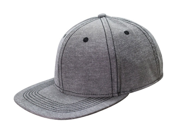 Cotton & Polyester 6 Panel Flat Bill Hat w/ Fused Buckram Backing Chambray Caps