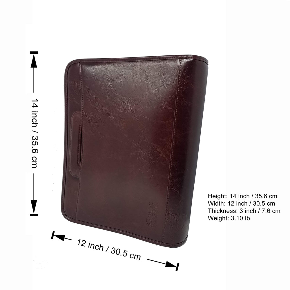 Impecgear PU Leather Professional Portfolio Padfolio Travel Briefcase Organizer W/iPad Mini Tablet Sleeve Holder, File Dividers W/Notepad 3-Ring Binder W/ Smart Handle & Strap-Double Zippered Closure (Free Pen) (Burgundy - PU Leather - DC3064)