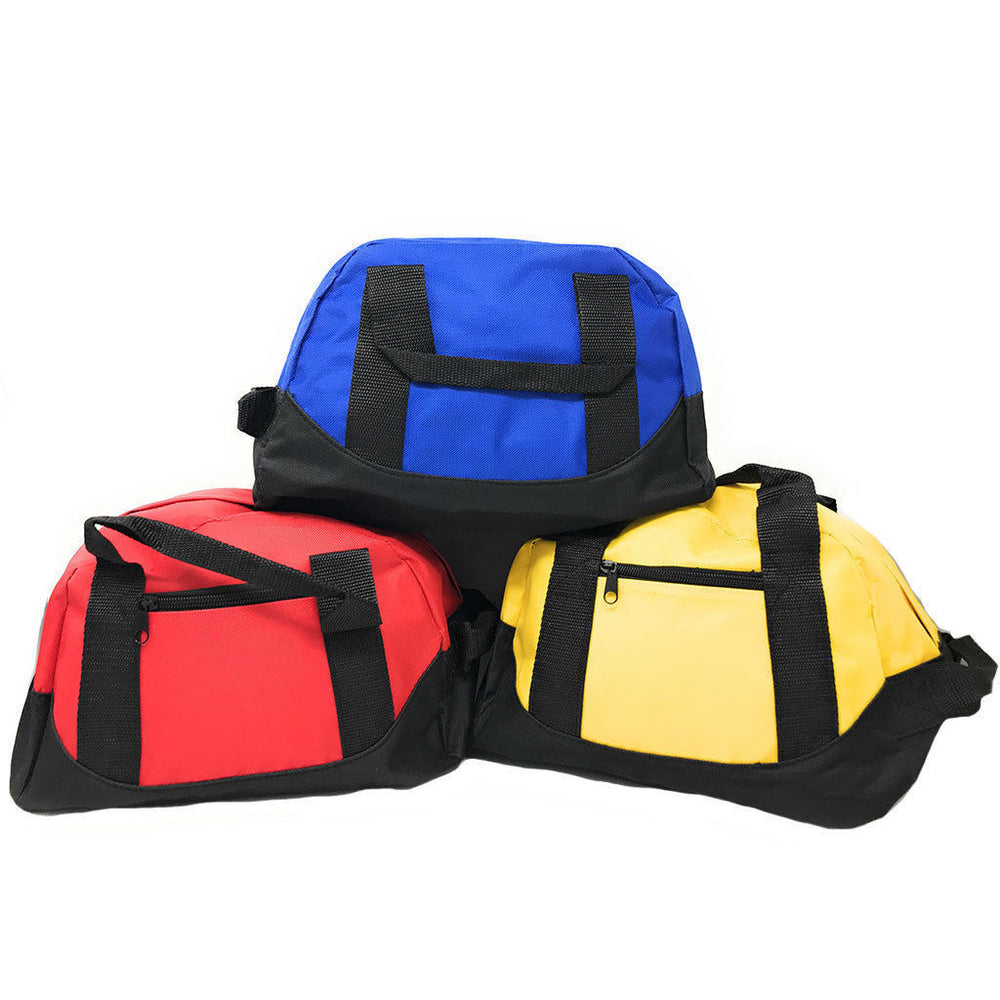 "12"" Mini Sports Gym Duffle Travel Bag, Carry-On OR 1 DOZEN (Royal, Red, Yellow)"