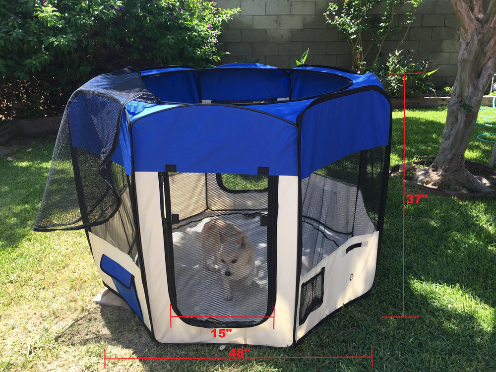 "Dog Playpen 49"" x 37"" Zipper Sealed Bottom Portable Foldable Soft Pet Playpen Tent Exercise Kennel for Puppy Cat Dog Crate with Carry Bag and Doors"