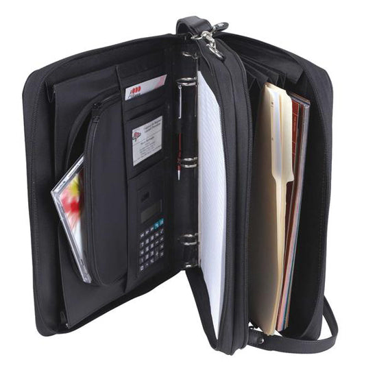 "3-Ring Binders W/ 1.5 inches RING DIAMETER, Folder File Divider Organizer Planner Double Zippered Closure W/ Smart Handle, Interior 11"" Tablet Sleeve, Briefcase Luggage Portfolio"