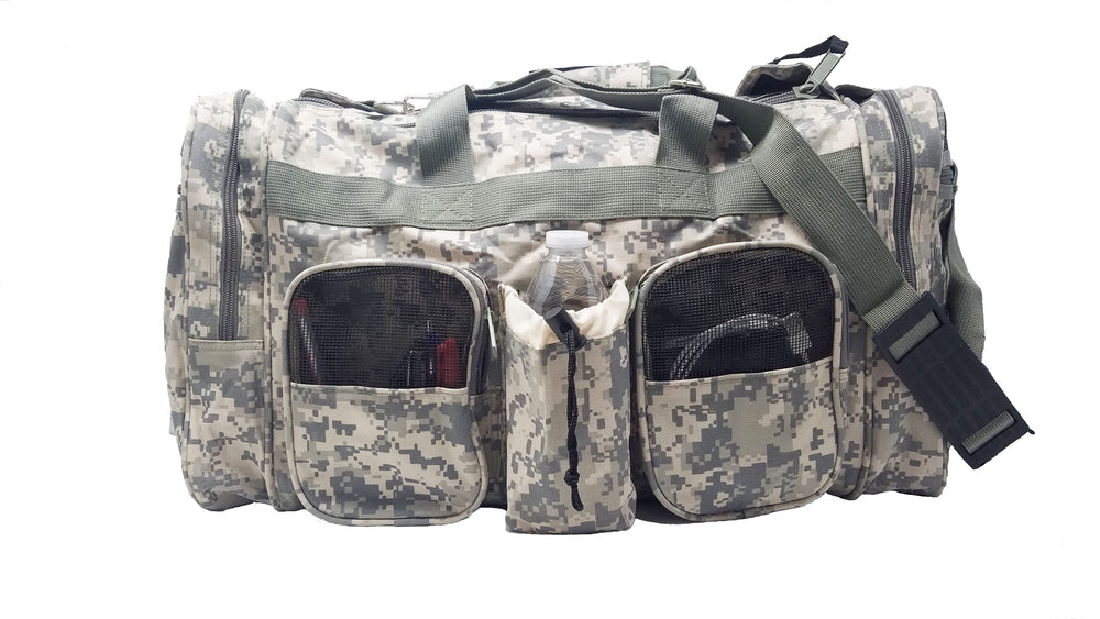 Digital Grey Camo Duffel Bag For Hunting Outdoors Gym Exercise Work Out Travel
