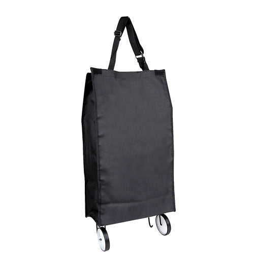 Black Foldable Rolling Polyester Tote For Shopping Traveling and Outdoor Activities