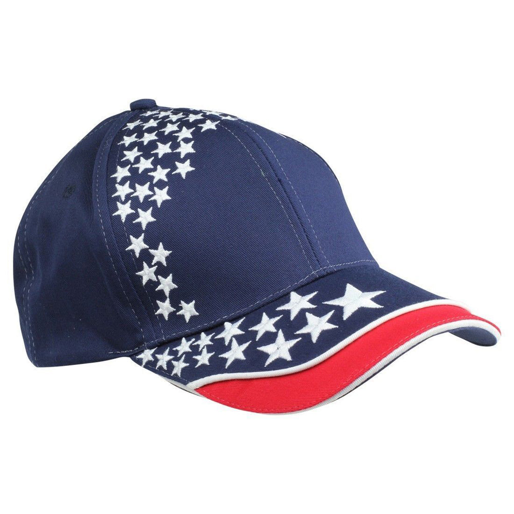 2 Mens New Blank Hat USA POWER Flag Cap ALL STAR 6 Panels American Patriotic Caps