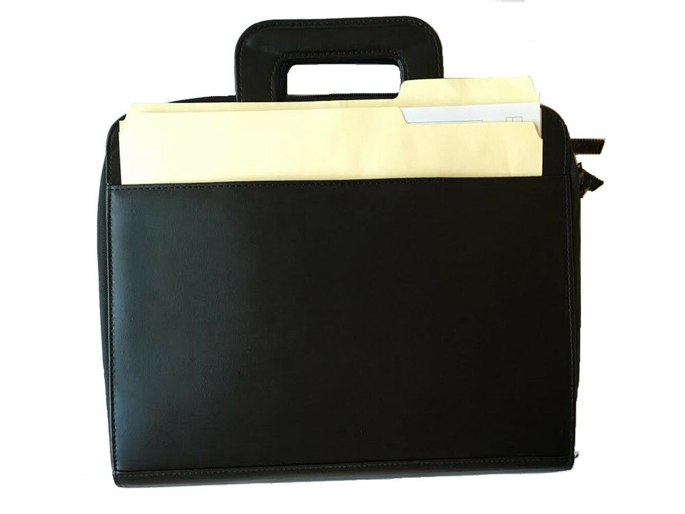 Impecgear PU Leather Professional Portfolio Padfolio Travel Briefcase Organizer W/iPad Mini Tablet Sleeve Holder, File Dividers W/Notepad 3-Ring Binder W/ Smart Handle & Strap-Double Zippered Closure (Free Pen) (Black - PU Leather - DC3062)