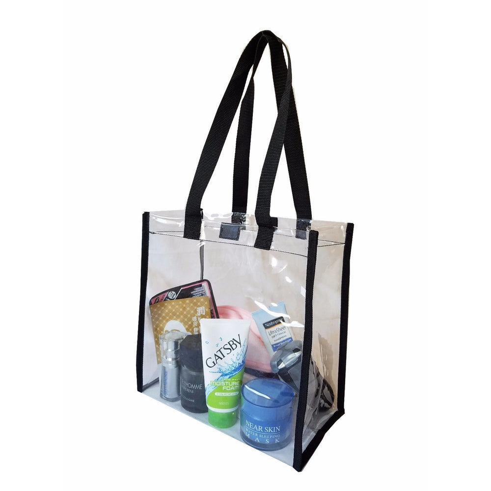 "Clear 12"" x 12"" x 6"" NFL Stadium Approved Tote Bag with VELCRO CLOSURES, 22"" Handles, Great for Travel & Disney"
