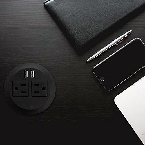 "Desktop Power Grommet Outlet Data Center,  3"" Hole No Drilling Required, 2 Outlet W/2 USB Ports(FREE RETURN) (SILVER, WHITE or BLACK- 3"" (No Drilling Required- 6ft Power Cord))"