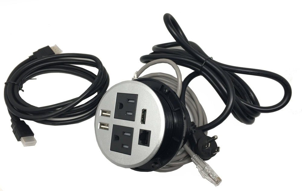 Conference Table Power Grommet Data Center HDMI//Power Outlet//CAT 6//USB Transfer