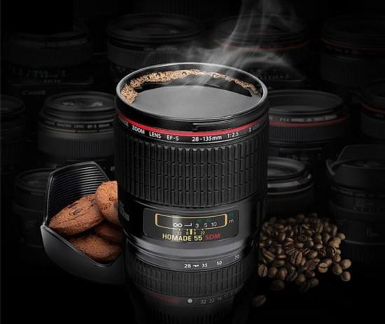 New Canon sixth Generation Stainless Steel Coffee Creative Lens Tea 400ml Mugs Emulation Camera Mug Cup