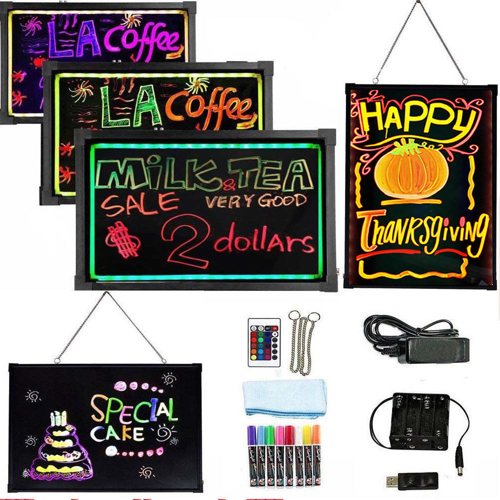 Flashing Illuminated Erasable Led Neon Sign Message Menu Writing Board W/ Remote