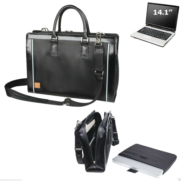 ImpecGear Leather Trim Laptop Bag Cosmopolitan Compu-Briefcase Notebook Computer Bag Black (PFC1162 Black - Pack of 1)
