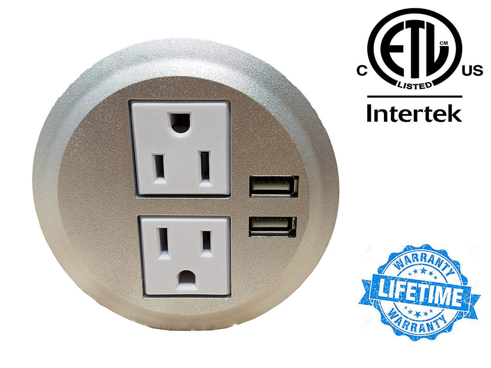 "Desktop Power Grommet Outlet Data Center, 2"" or 3"" Hole No Drilling Required, 2 Outlet W/2 USB Ports(FREE RETURN) (WHITE, SILVER And BLACK - 3"" (6ft Power Cord)."
