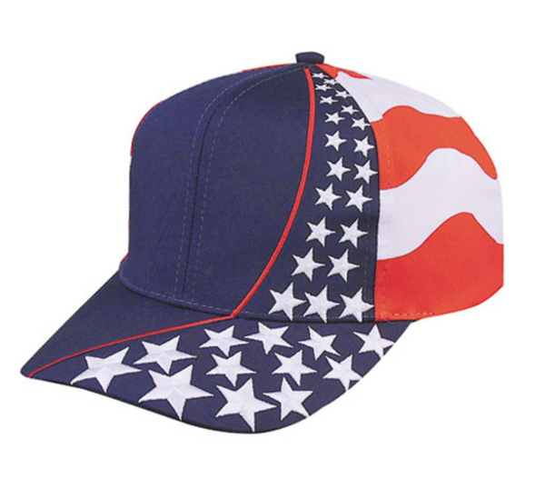 USA US Flag American Patriotic Stars 6 Panel Cotton Twill Baseball Hats Caps